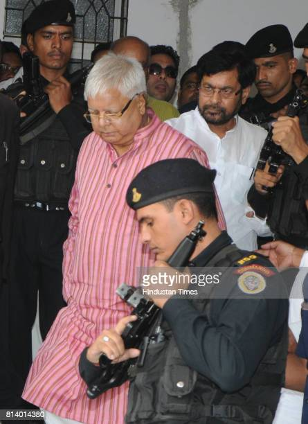 President Lalu Prasad proceeding to appear before a special CBI Court in connection with a fodder scam case at court premises on July 13 2017 in...