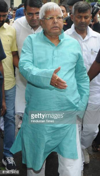 President Lalu Prasad proceeding to appear before a special CBI court in connection with a Fodder Scam case at Civil court premises on July 20 2017...