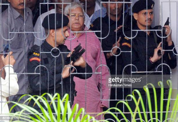 President Lalu Prasad proceeding to appear before a special CBI court in connection with a Fodder Scam case at civil court premises on July 27 2017...