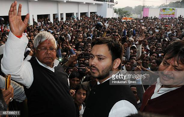 President Lalu Prasad with son Tejaswi at a public meeting after he was released on bail in a Fodder Scam case at Ambedkar Chowk in Hazaribagh on...