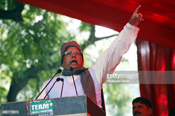 President Lalu Prasad Yadav addressing the supporters during the protest by Janta Parivar against Modi Government at Jantar Mantar on December 22...