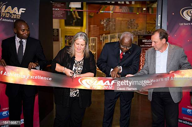 President Lamine Diack and Deputy Major of the City of Barcelona Maite Fandos next to WIlson Kipketer and former spanish athlete Fermin Cacho opens...