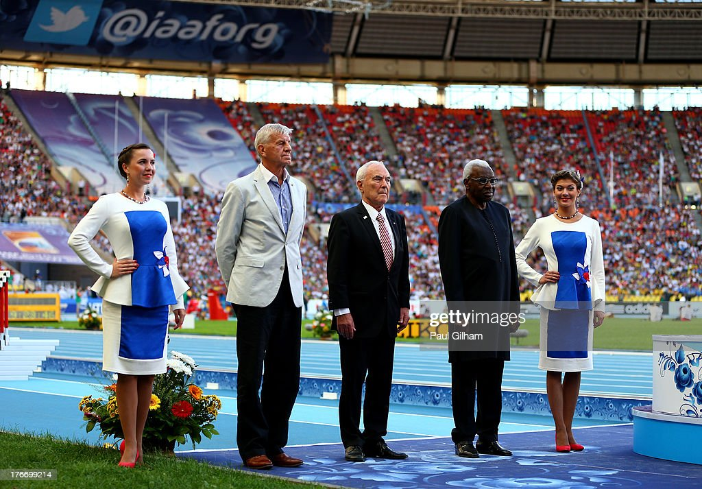 IAAF president <a gi-track='captionPersonalityLinkClicked' href=/galleries/search?phrase=Lamine+Diack&family=editorial&specificpeople=636938 ng-click='$event.stopPropagation()'>Lamine Diack</a> presents Igor Ter Ovanesyan with the fairplay award during Day Eight of the 14th IAAF World Athletics Championships Moscow 2013 at Luzhniki Stadium on August 17, 2013 in Moscow, Russia.