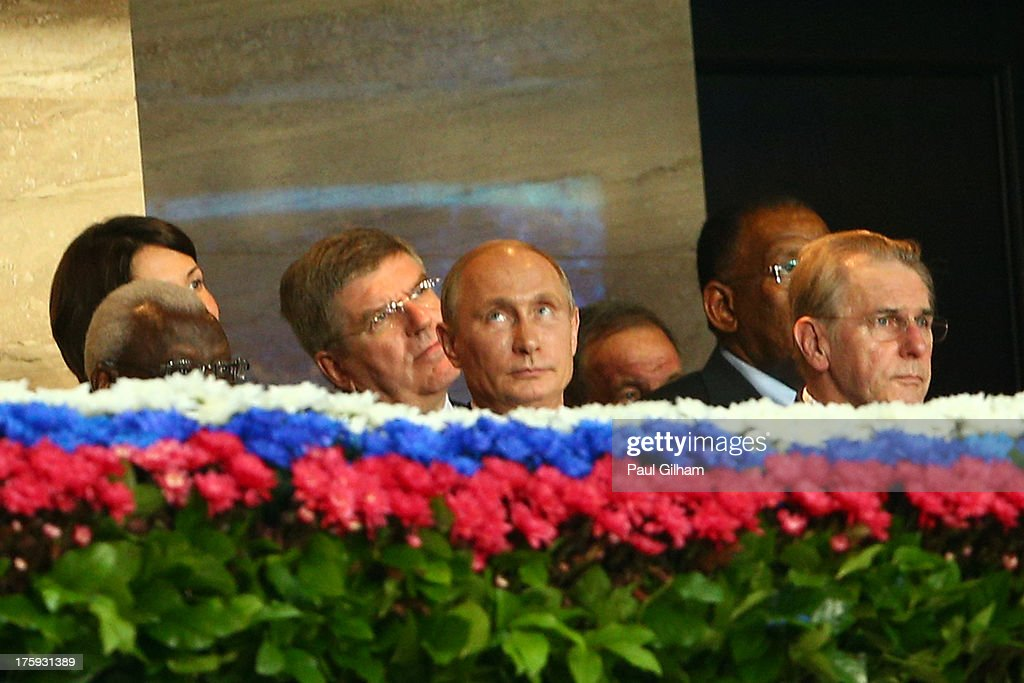 IAAF president Lamine Diack, Russian President Vladimir Putin and President of the International Olympic Committee (IOC) Jacques Rogge attend the opening ceremony during Day One of the 14th IAAF World Athletics Championships Moscow 2013 at Luzhniki Stadium on August 10, 2013 in Moscow, Russia.