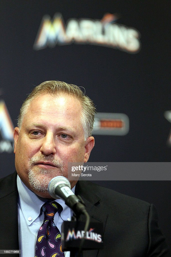 President Larry Beinfest of the Miami Marlins speaks to the media at Marlins Park on November 2, 2012 in Miami, Florida.