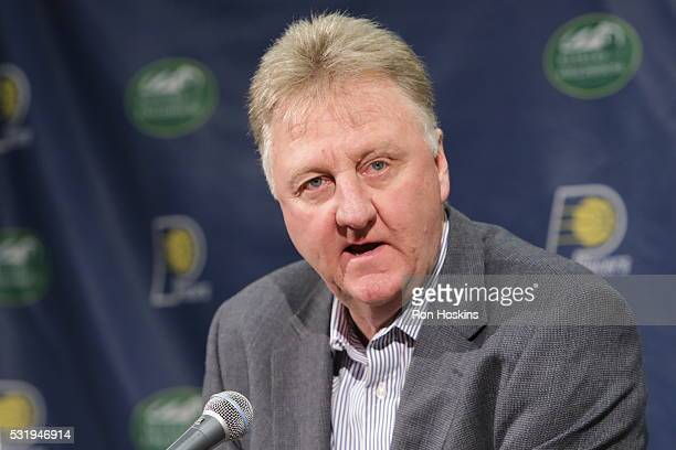 President Larry Bird introduces Nate McMillan as the new head coach of the Indiana Pacers at Bankers Life Fieldhouse on May 16 2016 in Indianapolis...