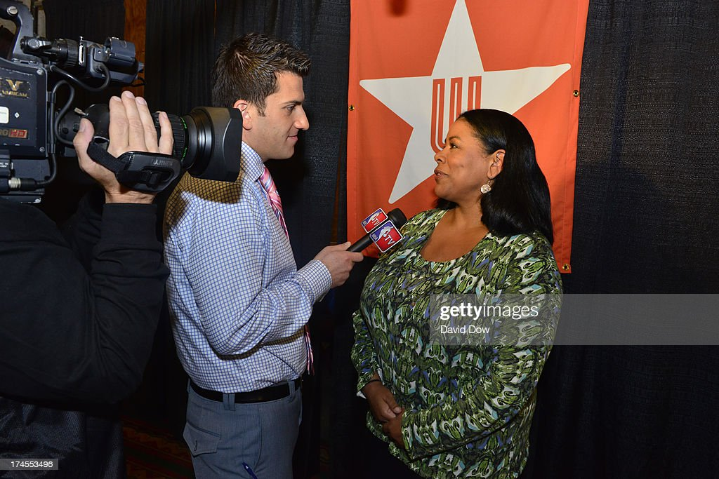 President Laurel Richie is interviewed during the 2013 Boost Mobile WNBA All-Star Game on July 27, 2013 at Mohegan Sun Arena in Uncasville, Connecticut.