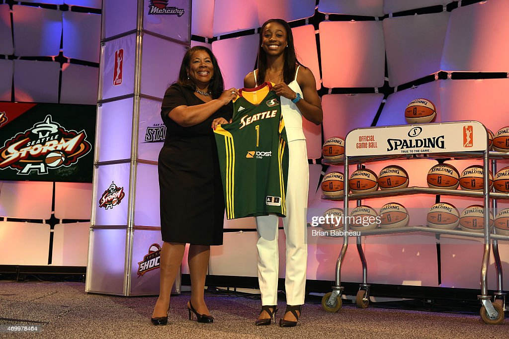 President Laurel Richie poses with Jewel Loyd after she was selected number one overall by the Seattle Storm during the 2015 WNBA Draft Presented By State Farm on April 16, 2015 at Mohegan Sun Arena in Uncasville, Connecticut.