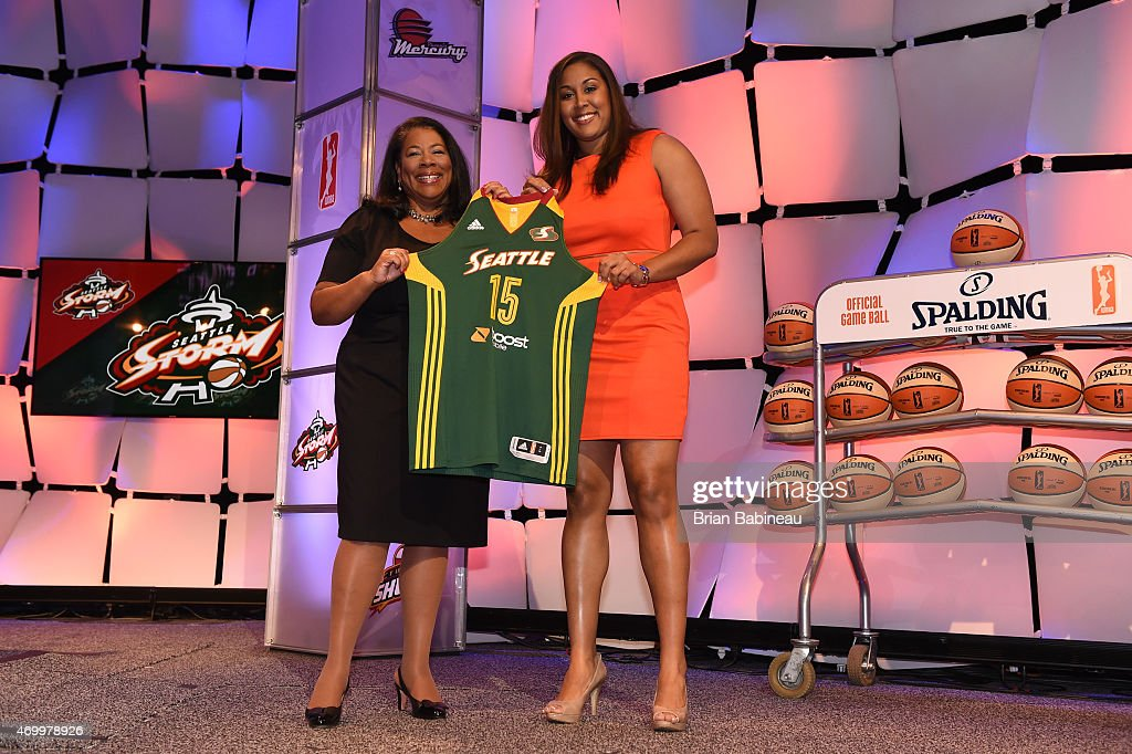 President Laurel Richie poses with Kaleena Mosqueda-Lewis after being drafted number three overall by the Seattle Storm during the 2015 WNBA Draft Presented By State Farm on April 16, 2015 at Mohegan Sun Arena in Uncasville, Connecticut.