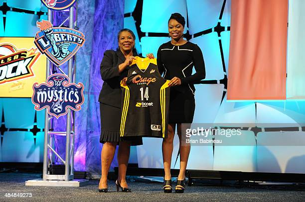 President Laurel Richie poses with Odyssey Sims after being drafted number two overall by the Tulsa Shock during the 2014 WNBA Draft Presented By...