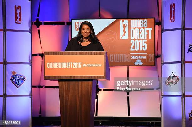 President Laurel Richie speaks during the 2015 WNBA Draft Presented By State Farm on April 16 2015 at Mohegan Sun Arena in Uncasville Connecticut...