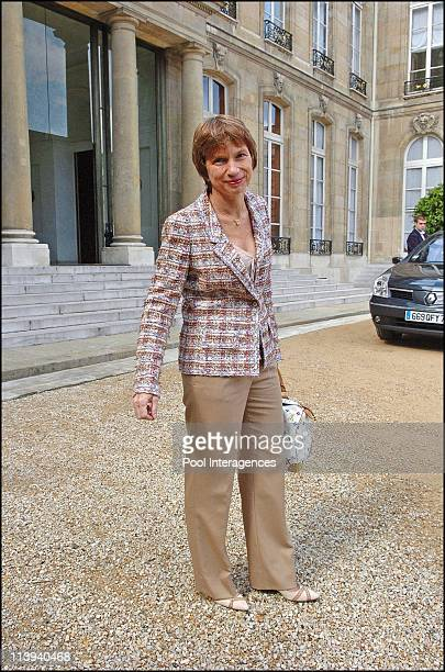 President Laurence Parisot meets with president Jacques Chirac in Paris France On August 26 2005 Newly elected president of the French employers'...