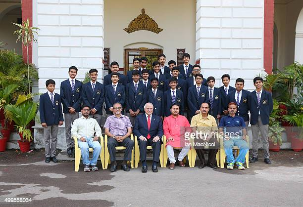 President Leandro Negre poses for a group photo with HH Maharaja Kamal C Bhanj Deo of Bastar state and Vice Principle Lt Col Avinash Singh as he...