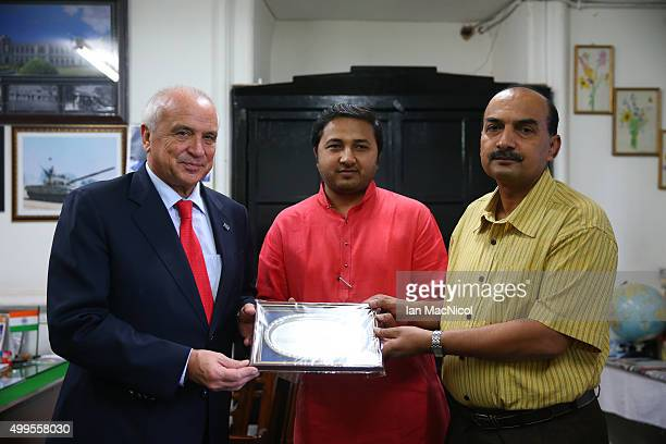 President Leandro Negre receives a plate from HH Maharaja Kamal C Bhanj Deo of Bastar state and Vice Principle Lt Col Avinash Singh as he visits the...