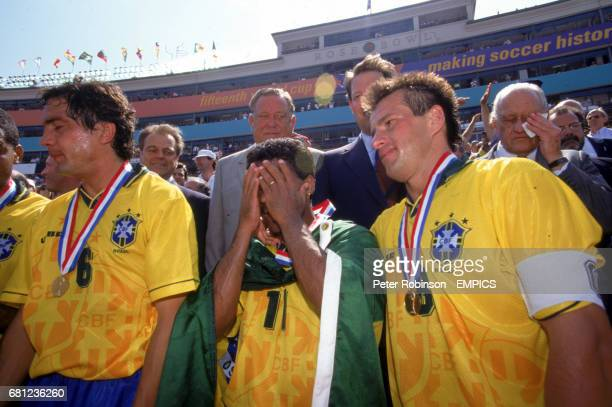 President Lennart Johansson and US VicePresident Al Gore look on as Brazil celebrate their victory Branco and Dunga look exhausted while Romario and...