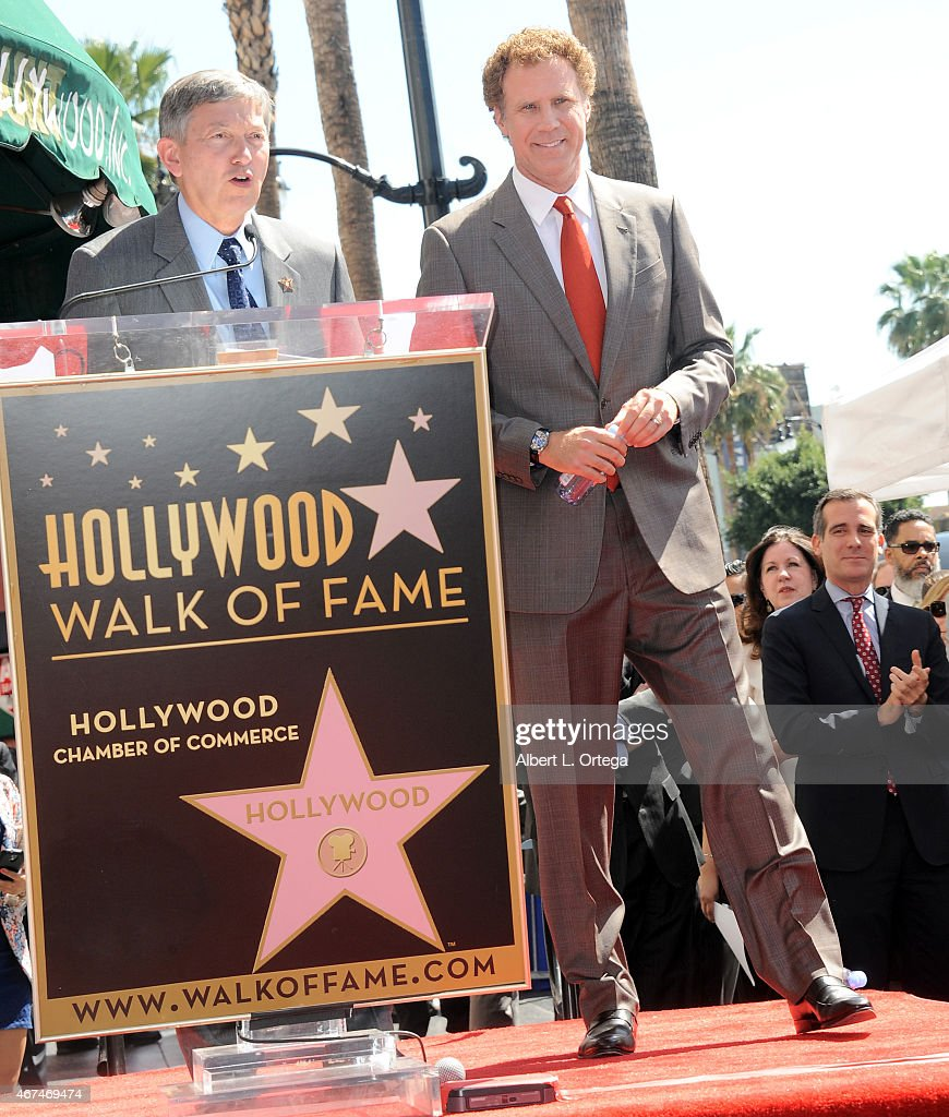 President Leron Gubler and actor Will Ferrell at the Will Ferrell Star Ceremony held on The Hollywood Walk Of Fame on March 24 2015 in Hollywood...