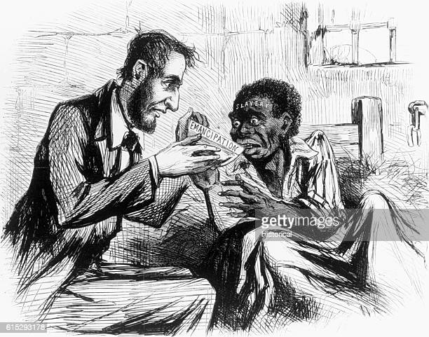 President Lincoln is depicted give a slave a drink from a bowl as a symbol of his giving them their emancipation