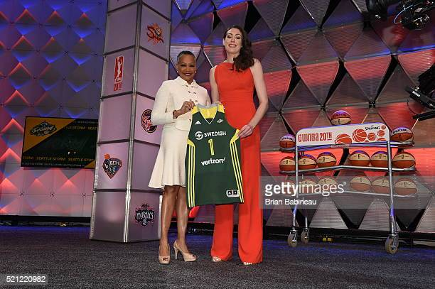President Lisa Borders poses with Breanna Stewart after being drafted number one overall by the Seattle Storm during the 2016 WNBA Draft Presented By...