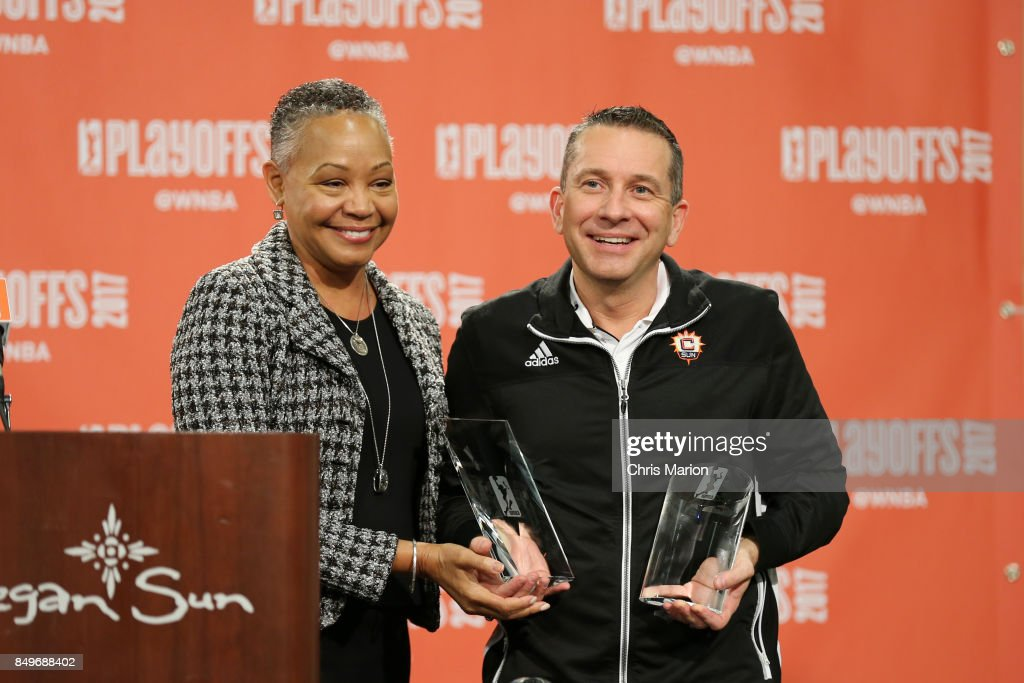 President Lisa Borders poses with Connecticut Sun General Manager Curt Miller who is named the 2017 WNBA Basketball Executive of the Year after the game against the Phoenix Mercury in Round Two of the 2017 WNBA Playoffs on September 10, 2017 at Mohegan Sun Arena in Uncasville, CT.