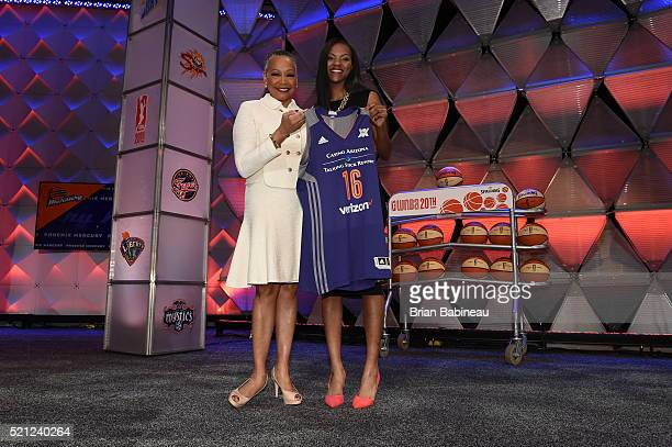 President Lisa Borders poses with Courtney Williams after being drafted number eight overall by the Phoenix Mercury during the 2016 WNBA Draft...