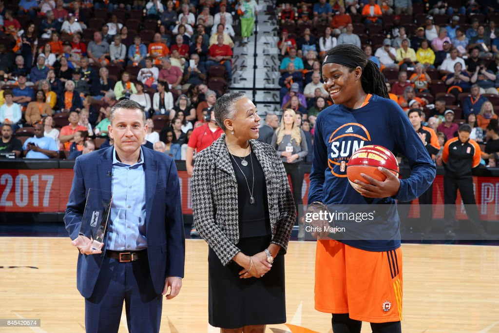 President Lisa Borders poses with General Manager Curt Miller and Jonquel Jones #35 of the Connecticut Sun receiving awards during the game against the Phoenix Mercury in Round Two of the 2017 WNBA Playoffs on September 10, 2017 at Mohegan Sun Arena in Uncasville, CT.
