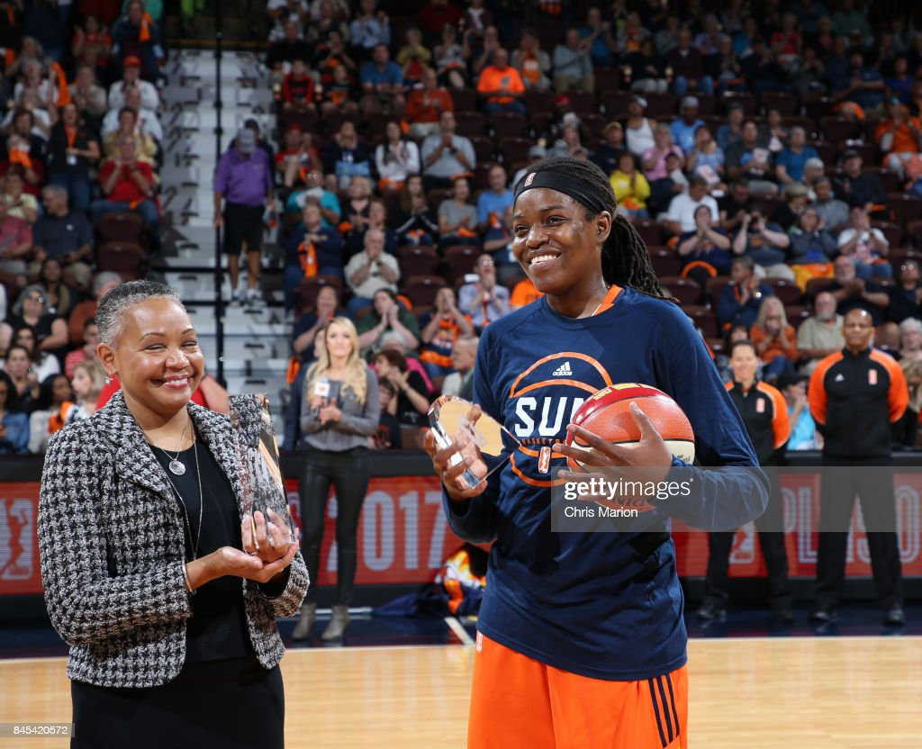 President Lisa Borders poses with Jonquel Jones #35 of the Connecticut Sun, who receives a trophy for the 2017 WNBA Most Improved Player during the game against the Phoenix Mercury in Round Two of the 2017 WNBA Playoffs on September 10, 2017 at Mohegan Sun Arena in Uncasville, CT.