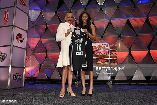 President Lisa Borders poses with Moriah Jefferson after being drafted number two overall by the San Antonio Silver Stars during the 2016 WNBA Draft...