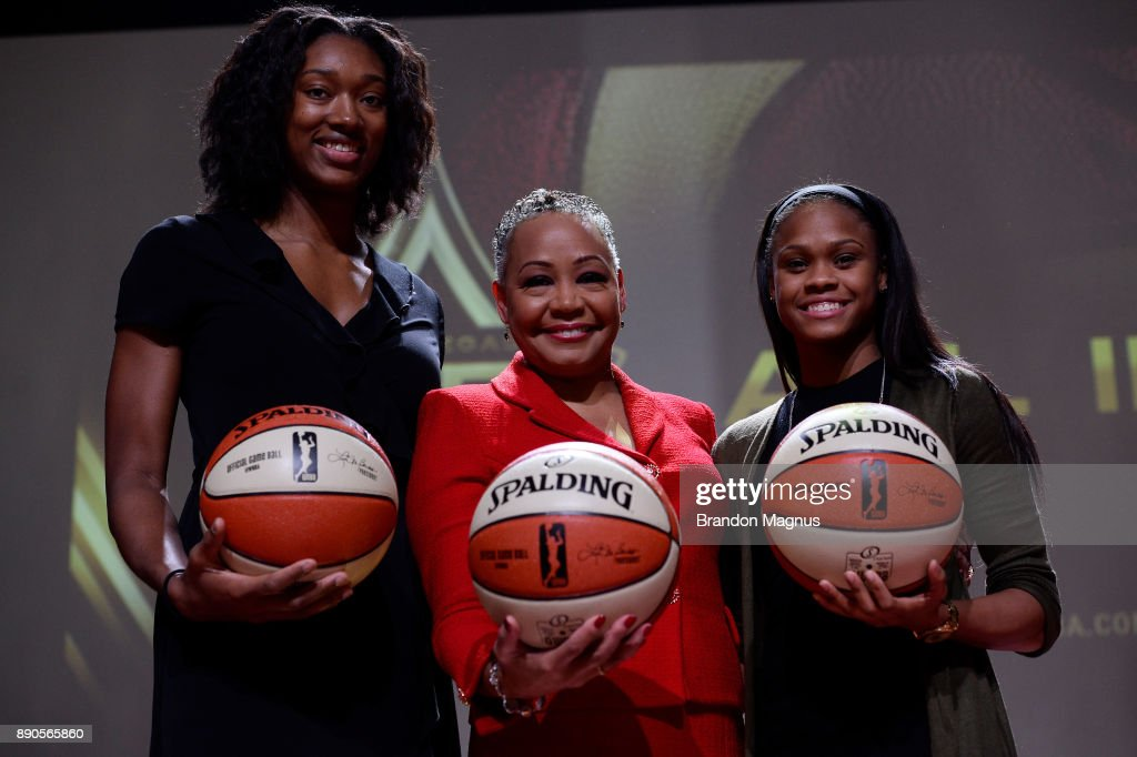 Professional basketball players Kayla Janine Alexander (L), President of the WNBA Lisa Borders (M), and Moriah Jefferson (R) pose for a picture during a news conference as the WNBA and MGM Resorts International announce the Las Vegas Aces as the name of their franchise at the House of Blues Las Vegas inside Mandalay Bay Resort and Casino on December 11, 2017 in Las Vegas, Nevada. In October, the league announced that the San Antonio Stars would relocate to Las Vegas and begin play in the 2018 season at the Mandalay Bay Events Center.