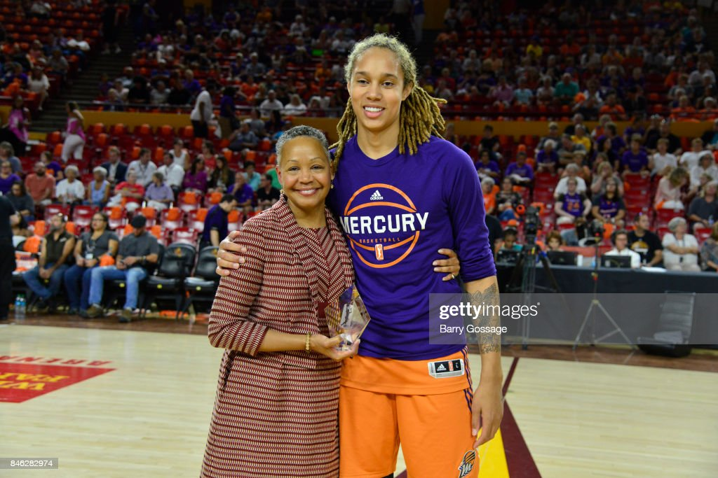 President Lisa Borders presents the WNBAs Peak Performer Award to Brittney Griner #42 of the Phoenix Mercury before the game against the Seattle Storm in Round One of the 2017 WNBA Playoffs on September 6, 2017 at Arizona State University Wells Fargo Arena in Tempe, Arizona.