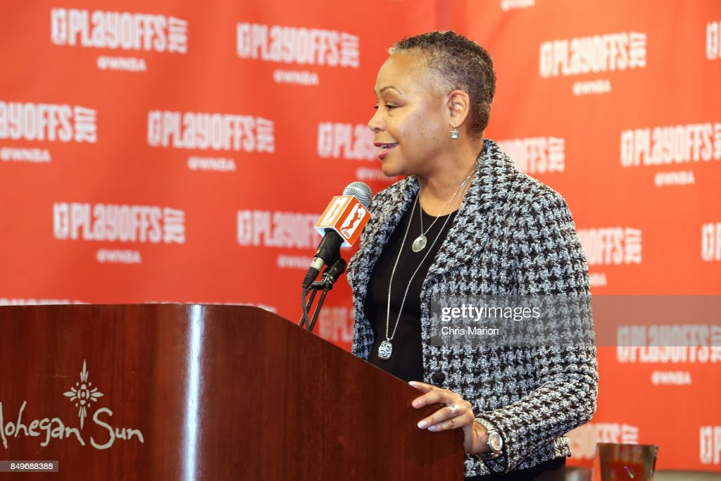 President Lisa Borders speaks at the press conference of Jonquel Jones #35 of the Connecticut Sun named the 2017 WNBA Most Improved Player after the game against the Phoenix Mercury in Round Two of the 2017 WNBA Playoffs on September 10, 2017 at Mohegan Sun Arena in Uncasville, CT.