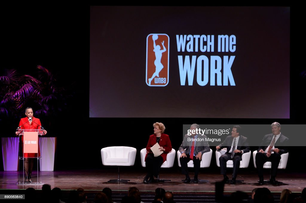 President of the WNBA Lisa Borders (L) speaks during a news conference as the WNBA and MGM Resorts International announce the Las Vegas Aces as the name of their franchise at the House of Blues Las Vegas inside Mandalay Bay Resort and Casino on December 11, 2017 in Las Vegas, Nevada. In October, the league announced that the San Antonio Stars would relocate to Las Vegas and begin play in the 2018 season at the Mandalay Bay Events Center.