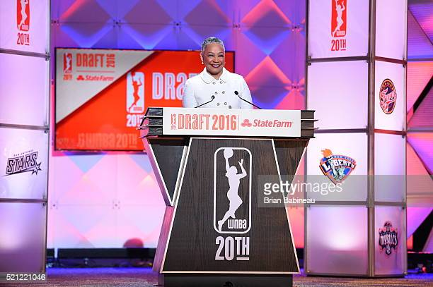 President Lisa Borders speaks during the 2016 WNBA Draft Presented By State Farm on April 14 2016 at Mohegan Sun Arena in Uncasville Connecticut NOTE...