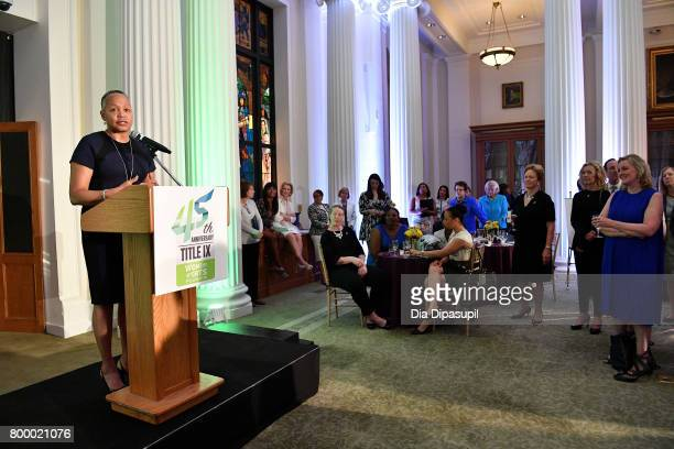 WNBA president Lisa Borders speaks onstage during the Women's Sports Foundation 45th Anniversary of Title IX celebration at the NewYork Historical...