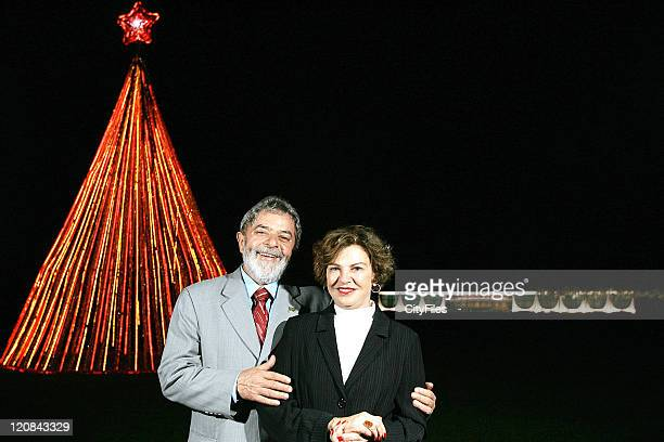 President Luiz Inacio Lula da Silva and First Lady Marisa Leticia near Christmas three at Alvorada palace in Brasilia