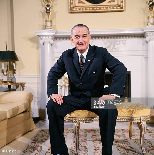President Lyndon B Johnson in the Oval Sitting Room of the family quarters of the White House in Washington DC