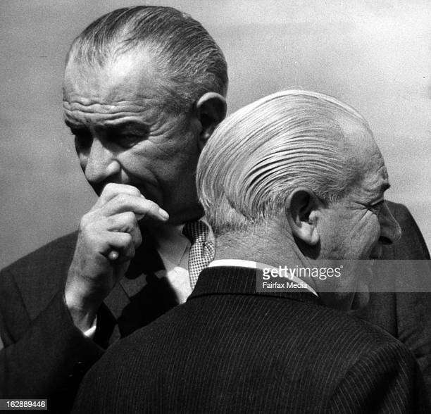 US President Lyndon B Johnson with Australian Prime Minister Harold Holt in Melbourne October 21 1966 Johnson was the first US President to visit...