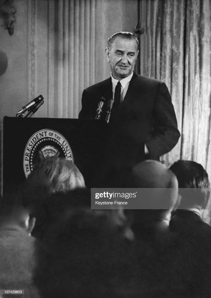President <a gi-track='captionPersonalityLinkClicked' href=/galleries/search?phrase=Lyndon+Johnson&family=editorial&specificpeople=91450 ng-click='$event.stopPropagation()'>Lyndon Johnson</a> Press Conference About Vietnam And Dominican Crisis In White House On June 1965