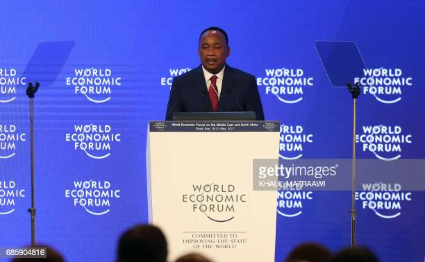 President Mahamadou Issoufou of Niger speaks on the stage during the opening session of the World Economic Forum held in the Dead Sea resort of...