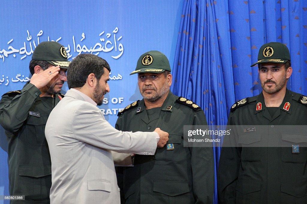 IRI President Mahmoud Ahmadinejad decorates IRGC 1st Admiral Ablqassem Amangah with the IRI's Highest Bravery Medal for having led the operation...