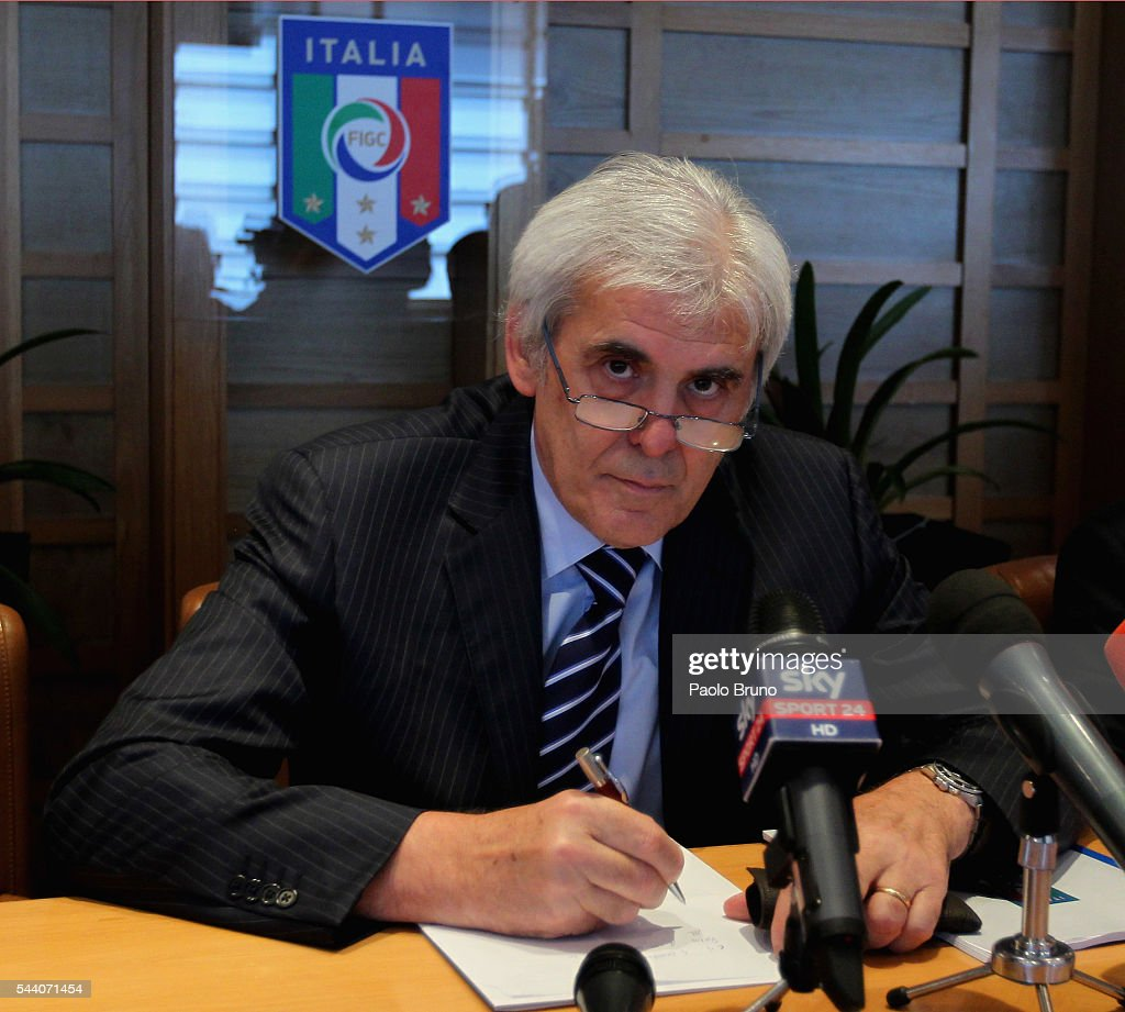 President Marcello Nicchi attends the AIA Italy Referee Association press conference on July 1, 2016 in Rome, Italy.