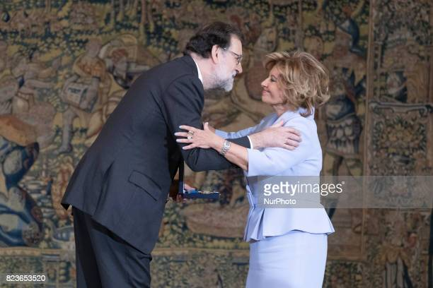 President Mariano Rajoy and Maria Teresa Campos attend the 'Medals to Merit in Work' delivery at Moncloa palace July 27 2017 in Madrid Spain