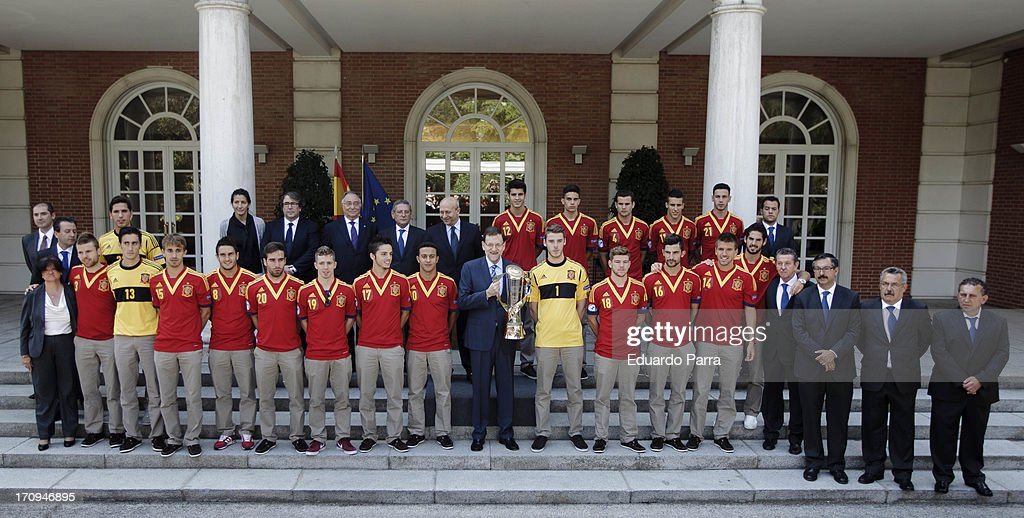 President Mariano Rajoy (C) attends winners of U21 cup reception at Moncloa Palace on June 20, 2013 in Madrid, Spain.