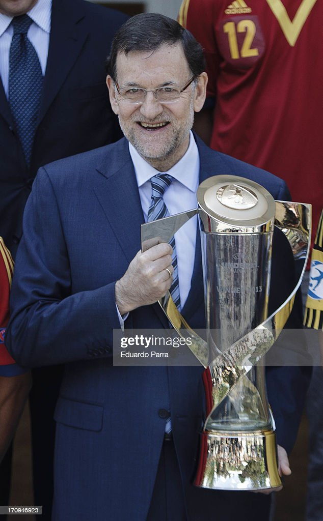 President Mariano Rajoy attends winners of U21 cup reception at Moncloa Palace on June 20, 2013 in Madrid, Spain.