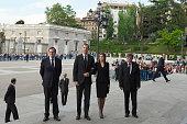 President Mariano Rajoy King Felipe VI of Spain Queen Letizia of Spain and Ambassador of Ecuador Miguel Calahorrano Camino attend a tribute Mass tor...