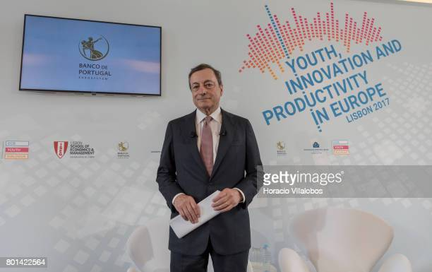 President Mario Draghi arrives to have a conversation with students of selected universities at the Lisbon School of Economics and Management prior...