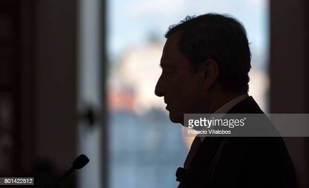 President Mario Draghi has a conversation with students of selected universities at the Lisbon School of Economics and Management prior to the...