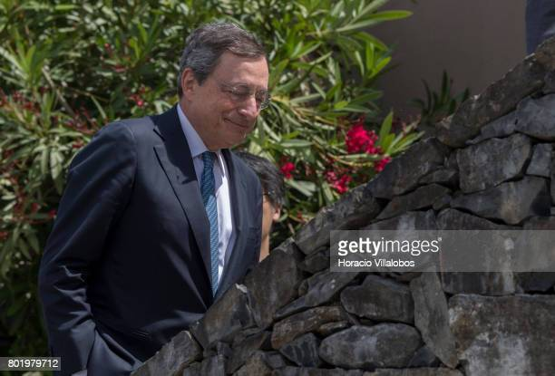 President Mario Draghi leaves the conference area at the end of the first discussion session of the ECB Forum on Central Banking on June 27 2017 in...