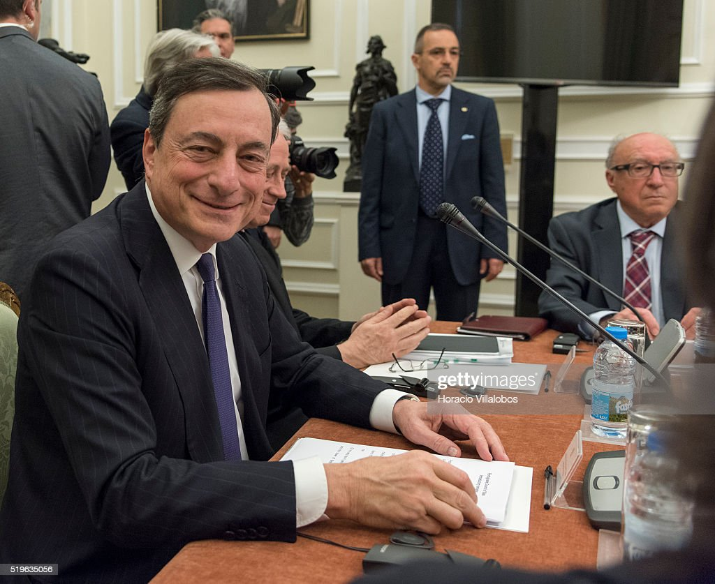 ECB president <a gi-track='captionPersonalityLinkClicked' href=/galleries/search?phrase=Mario+Draghi&family=editorial&specificpeople=571678 ng-click='$event.stopPropagation()'>Mario Draghi</a> meets with Portuguese State Council at the presidential palace, Palacio de Belem, on April 7, 2016, in Lisbon, Portugal. Draghi recommended that Portugal accelerate its rythm of reform and avoid a violation of European budget rules.