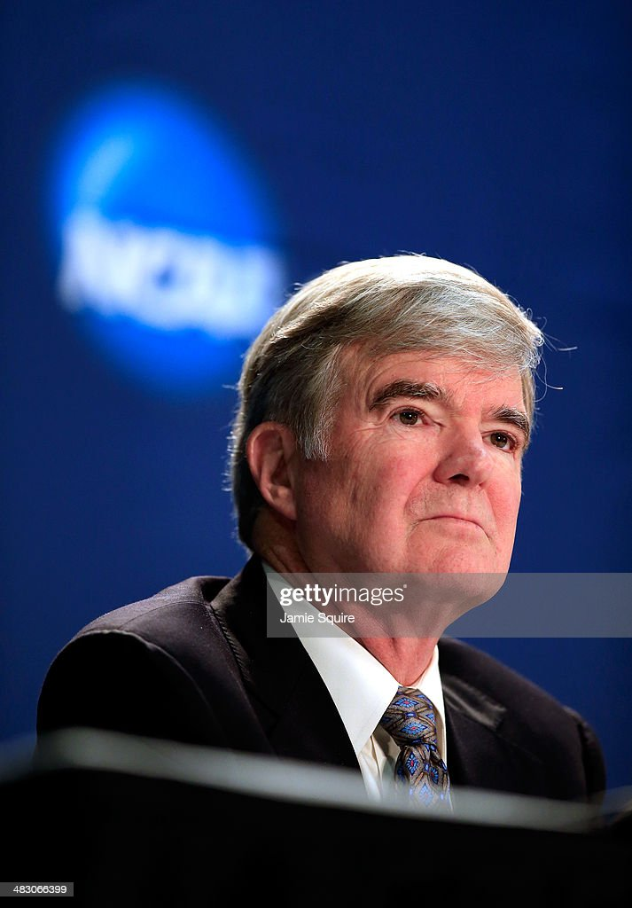 President Mark Emmert speaks to the media during a press conference at ATT Stadium on April 6 2014 in Arlington Texas