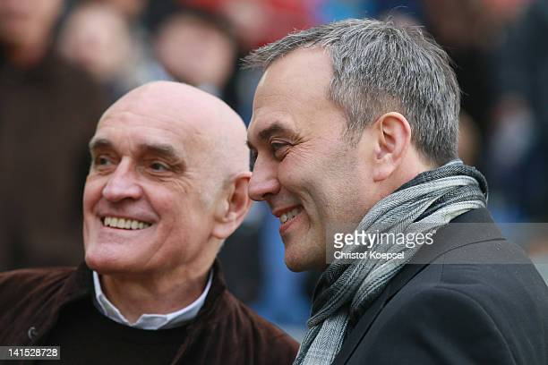 President Martin Kind of Hannover and chairman Claus Horstmann of Koeln talk prior to the Bundesliga match between Hanover 96 and 1 FC Koeln at AWD...